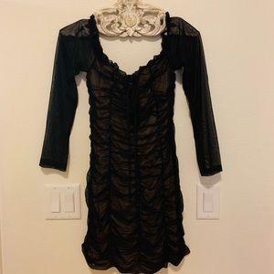 FASHION NOVA Sheer Black Long Sleeve Mini!